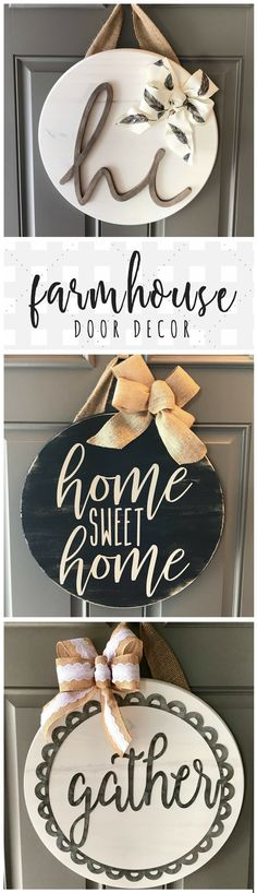 Farmhouse door hangers found on Etsy! Love these circle pieces, so beautifully done. Painted wood is a weakness of mine ... and I love the added wood text to give the hanger some dimension! #doorhanger #diydecor #farmhousedecor #doorideas #entrywayideas #farmhouseentry #farmhousekitchen #rusticdecor