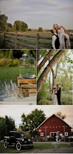 country themed wedding: wooden fence, mason jars, and the great outdoors