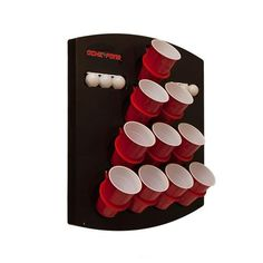 Oche Pong. Combination of darts and beer pong. hangs on walls or window. Great for tailgating