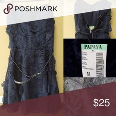 New! NWT Papaya Strapless Fit to Flare Dress This dress has a pretty A-Line / Fit to Flare style. The material resembles a floral lace overlay and comes with a thin navy belt. Zipper closure in back. Papaya Dresses Strapless