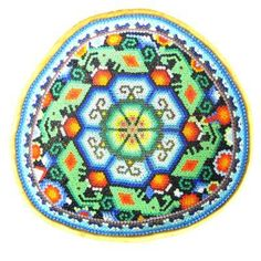 Huichol Indian Beaded Bowl with Gold Peyote and Green Insects ⋆ Latin American Art Gallery