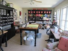 amazing sewing room and blog on how to create the many amazing storage items on here