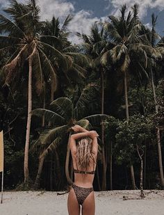 beach day - palm trees - bikini