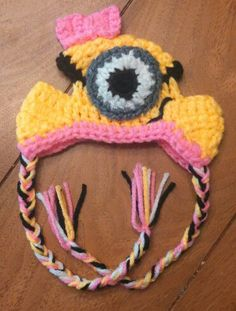 Dog sized Minion Hat with Earholes Crochet Ebay VintageRedCollection