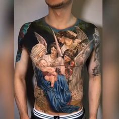 Colorful Realism Angels and Jesus Christ tattoo created by amazing American artist Brent Olson (brentolson_aj). Hand Tattoos, Best Sleeve Tattoos, Body Art Tattoos, Tattoo Sleeves, Movie Tattoos, Skull Tattoos, Jesus Tattoo, Tattoo Life, Pin Tattoo