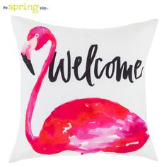 Welcome Flamingo Outdoor Pillow