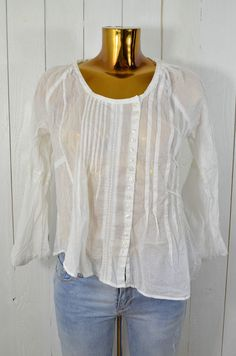 HUNKYDORY Damen Bluse Tunika Oberteil Weiß Biesen Baumwolle Knopfleiste Gr.M