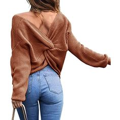 354a4d806be3e Women s Casual V Neck Criss Cross Backless Long Batwing Sleeve Loose  Knitted Sweater Pullovers --