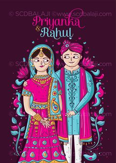 Punjabi Bride and Groom Illustration in Cartoon Style. Creative and Vivid Punjabi Wedding Invitation's Front Side. Explore the complete Card, Printing Details and pricing and www.scdbalaji.com