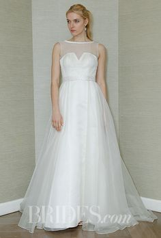 An illusion-necked wedding dress from The Steven Birnbaum Collection by @BBweddingdress | Brides.com