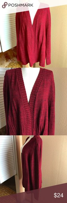 """➕ CJ Banks Women's Sweater 1X Red/Black Open Front Excellent Used Condition!! Mareled red and black with nice stitching. Chest 30"""", Length 28"""", Sleeve 28"""". Christopher & Banks Sweaters"""