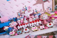 Hip Postal Mail Themed Party Ideas - Dessert spread (Mailbox cake and sweet treats) Party Themes, Party Ideas, Mailbox, Sweet Treats, Photoshoot, Dessert, Dolls, Birthday, Cake