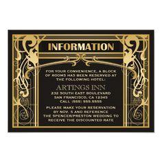 Vintage Art Deco Wedding Invitation Insert Card -  An elegant vintage, art deco / great gatsby, 1920's inspired wedding invitation insert card. Great to add directions to the... #custom #Wedding Themed #gift #invitation design by #pics4weddings - #invitation #artdecoaccommodationcards #artnouveauinformationcards #greatgatstyweddinginvitationinserts #vintageweddinginvitationinsertcards #1920sinspiredinformationcards #artdecostyledirectioncards #artdecothemedinsertcard #roaring20sinserts…