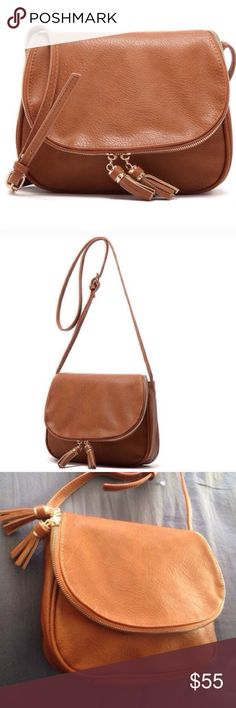 •FLASH SALE• Genuine Leather Crossbody Bag Genuine brown leather Crossbody tassel fringe bag. Brand new. Actual bag shown in 3rd-4th photos Bags Crossbody Bags