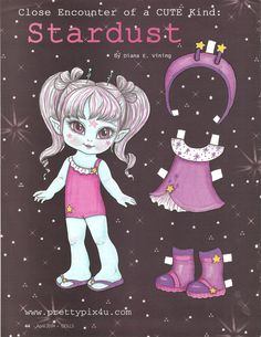STARDUST Paper Doll from Dolls Magazine, April 2014, by Diana E Vining 1 of 2