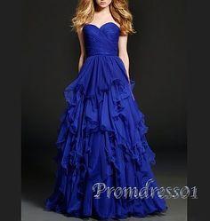 Beautiful royal blue chiffon prom dress for teens, ball gown, prom dresses long #coniefox #2016prom
