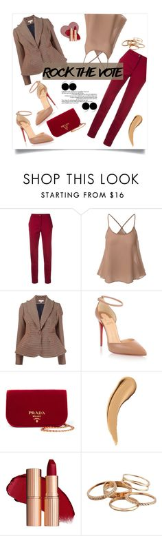 """Untitled #99"" by soniapan97 ❤ liked on Polyvore featuring P.A.R.O.S.H., Doublju, Delpozo, Christian Louboutin, Prada and Kendra Scott"