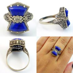 14K Antique Art Deco Blue Lapis Lazuli ring from laurenrosedesign on Etsy. Love the color on this one.