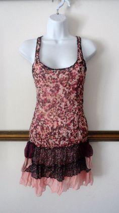Rachel Chloe Floral Flower Vintage Tunic Longer Blouse Mini Dress Women Small S #rachelchloe #Tunic