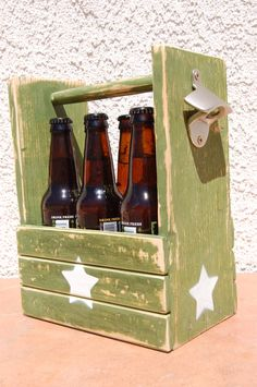 Military Green with star, Six Pack Bottle Holder With Bottle Opener, One of a kind! by WoodCore on Etsy