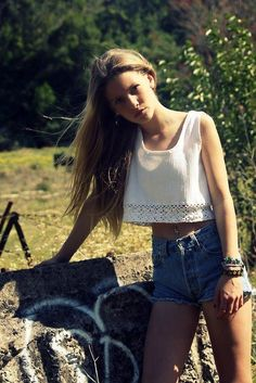 cropped tank & high waist jean shorts