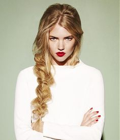 A long blonde straight coloured ponytail plaited hairstyle by Headmasters