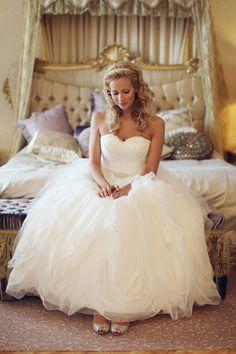 White and Gold Wedding. Sweetheart Corset Ballgown Dress. San Patrick wedding dress