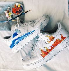 white fire and wave nike shoes Custom Sneakers, Custom Shoes, Sneakers Vans, Customised Shoes, Custom Af1, Custom Painted Shoes, Aesthetic Shoes, Aesthetic Images, Hype Shoes
