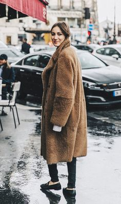 Pair your oversized winter coat with a good pair of skinny jeans.