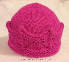 Free knitting pattern for Crown Hat pattern by Donna Sires - more baby hat patte... Baby Knitting Patterns