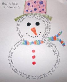 Snowman shape writing