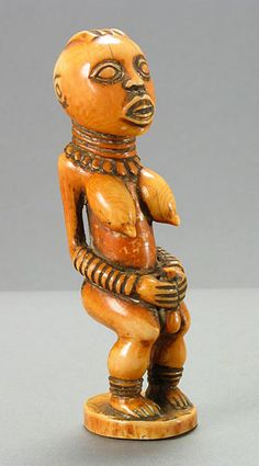"""Bangwa Ivory Sculpture of a Queen Mother - PF.3953  Origin: Grasslands of Central Cameroon  Circa: 20 th Century AD  Dimensions: 6.125"""" (15.6cm) high x 1.75"""" (4.4cm) wide  Collection: African  Medium: Ivory"""