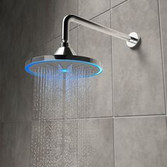 Be illuminated as you wash, with this cleverly designed shower head with integrated LED lighting. The lights indicate the water temperature and turn from blue to red, as it warms up. Led Shower Head, Shower Arm, Shower Heads, Modern Shower, Modern Bathroom, Small Bathroom, Bathrooms, Bathroom Fixtures, Master Bathroom