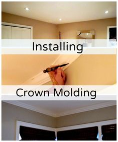 Installing crown molding in the master bedroom. This is a great tutorial for anyone planning to install crown molding or do a bedroom remodel. Home Improvement Projects, Home Projects, Home Renovation, Home Remodeling, Bedroom Remodeling, Diy Crown Molding, Crown Moldings, Crown Molding In Bedroom, Architecture 3d
