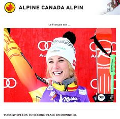 YURKIW SPEEDS TO SECOND PLACE IN DOWNHILL CORTINA d'AMPEZZO, ITALY (January 16, 2015) – Larisa Yurkiw is putting together a season to remember on the Audi FIS Ski World Cup circuit. The native of Owen Sound, ON skied to a 2nd place finish – her best-ever World Cup result – in the women's downhill on Friday in Cortina d'Ampezzo, Italy. Yurkiw raced down the course in 1:09.68 for her first-ever podium finish and finished just behind winner Elena Fanchini of Italy (1:09.53). World Cup Skiing, Ski Racing, Olympic Committee, Alpine Skiing, Sport 2, Sports Stars, World Championship, Circuit, Olympics