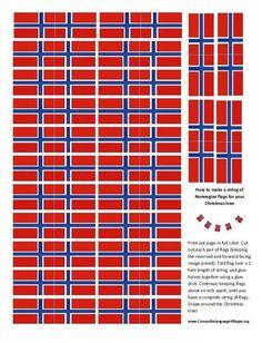 String of Norwegian flags for Christmas Tree