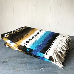 vintage serape blanket - Mexican textile bedspread throw - woven wall hanging - mustard turquoise black