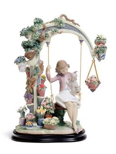 Lladro Privilege Gold Swing Into Spring (Retired)