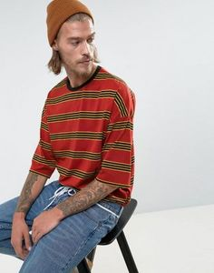 ASOS Oversized Retro Stripe T-Shirt With Ringer