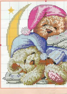 Present for christmas: teddy bear cross stitch, kids craft ideas Cross Stitch For Kids, Cross Stitch Boards, Cross Stitch Baby, Cross Stitch Animals, Beaded Cross Stitch, Cross Stitch Embroidery, Embroidery Patterns, Cross Stitch Designs, Cross Stitch Patterns