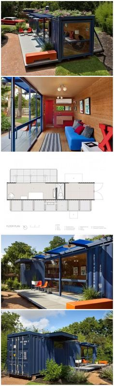 Container House. Add solar panels and plants on roof: