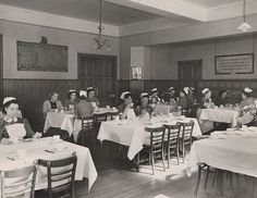 Royal Infirmary, Edinburgh Dining Hall, Florence Nightingale Nurses' Home, c.1950  The Florence Nightingale Nurses' Home was opened in 1939 by the Duchess of Gloucester. It provided 282 separate rooms for nurses as well as modern study and relaxation spaces.