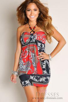 Red Halter Drape Loop Print Dress with Trim