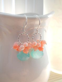Aqua Blue Chalcedony Peach Pink Coral Earrings in Sterling Silver, Handmade Gemstone Earrings, Spring Summer Fashion, Everyday Wear. $37.50, via Etsy.