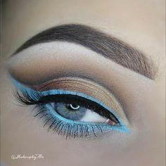Turquoise Eyeliner Eye Makeup Look