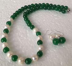 Natural-white-Akoya-Pearl-Green-Jade-Gemstones-Fashion-Necklace-Earrings-set