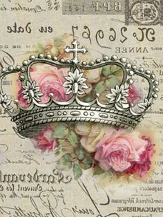 silver crown with pink roses decoupage shabby chic printable art. Vintage Diy, Decoupage Vintage, Vintage Paris, Vintage Shabby Chic, Vintage Labels, Vintage Roses, Vintage Postcards, Vintage Images, Scrapbooking Vintage