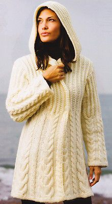 Chunky Graduated Cable Hooded Aran Style Jacket Knitting Pattern  Sm - XL