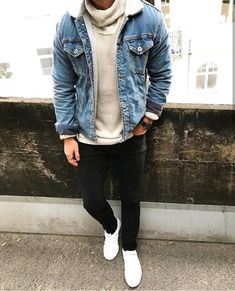 Awesome looking men's outfits 17562 Men's Fashion, Fashion Outfits, Casual Outfits, Men Casual, Men's Outfits, Latest Mens Wear, Looks Jeans, Denim Jacket Fashion, Black Jeans Outfit
