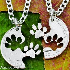Dog Jewelry, Paw Print Necklace Set, Best friends necklaces, Interlocking Relationship cut coin, necklace, key chain, or collar tag on Etsy, $39.99